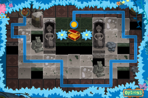 Dragging your finger plans the hero's path to the treasure. It seems easy but you'll die quite a bit!
