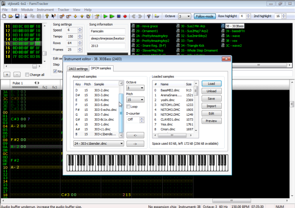 Click Load, then pick an octave and note and select the loaded DMC file from the drop down.