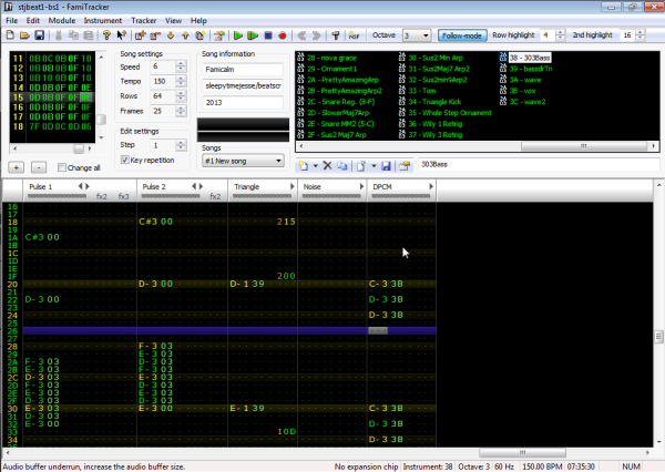 Lay down your notes as you would for any other channel in Famitracker.