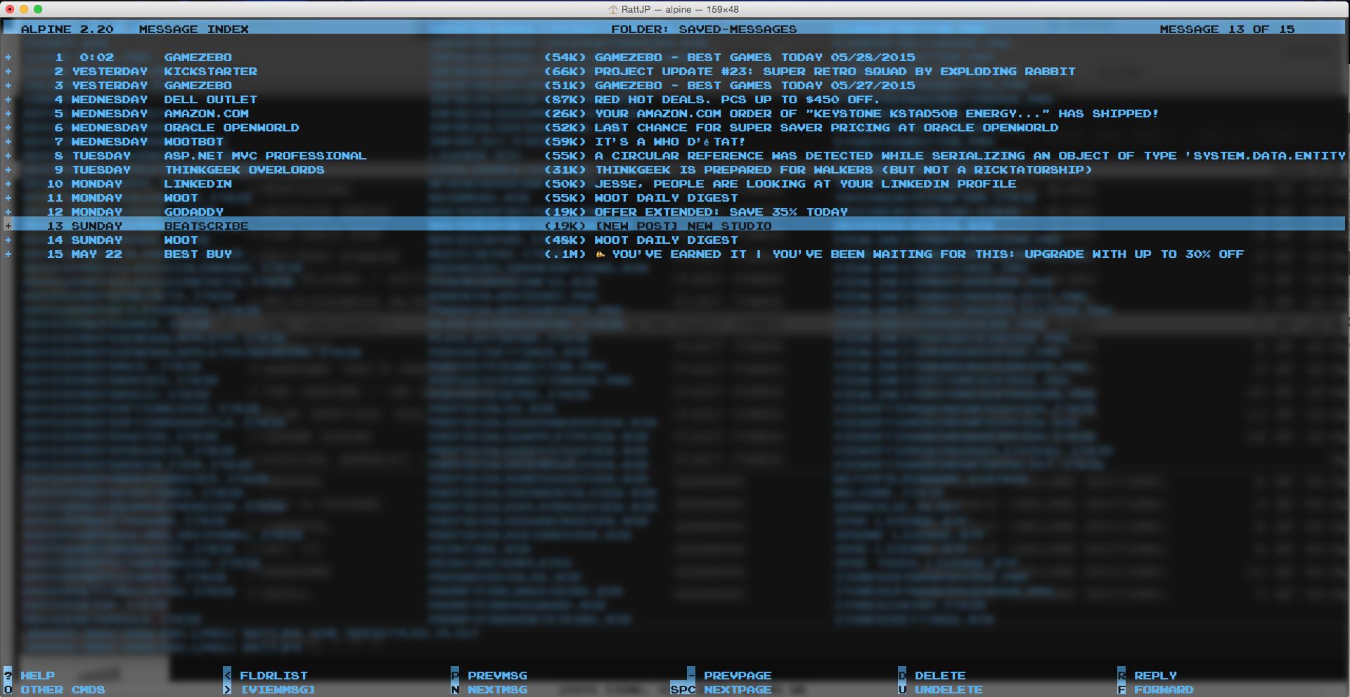 8-bit Mac Terminal Email Client | BeatScribe